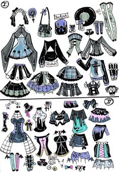 clothes Custom Mix and Match outfits 1 by Guppie-Vibes on DeviantArt Anime Drawings Sketches, Cute Drawings, Pastell Goth Outfits, Drawing Anime Clothes, Manga Clothes, Drawing Expressions, Fashion Design Drawings, Drawing Base, Drawing Challenge