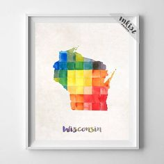 Wisconsin Map Print, Madison Print, Wisconsin Poster, Milwaukee Map, Watercolor Map, State Art, Home Decor, Map Poster, Wall Art. PRICES FROM $9.95. CLICK PHOTO FOR DETAILS.#inkistprints #watercolor #map #mapart #giftforher #homedecor #wallart #walldecor #poster #print #christmas #christmasgift #weddinggift #nurserydecor #mothersdaygift #fathersdaygift #babygift #valentinesdaygift