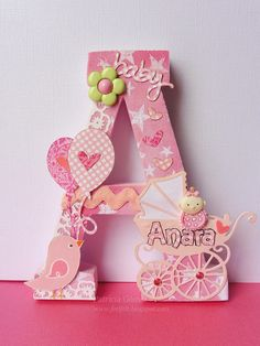 Decorated Letter A de Anara Letter A Crafts, Wood Letters, Monogram Letters, Baby Crafts, Diy And Crafts, Paper Crafts, Box Frames, Baby Decor, Diy Gifts