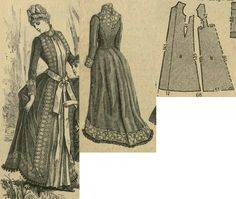 Tygodnik Mód 1885.: Morning gown in princess line freom tobacco brown diagonal fabric with greyis-yellow plastron and toned reps ribbon, with yellowish lace decorations. Front hidden closure with hooks and thread loops.
