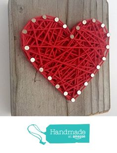 Sweet and small wooden rustic red string art heart block - A unique Father's Day, Wedding, Anniversary, Valentine's Day, Christmas, House Warming, New Baby and just because gift. from Nail it Art https://smile.amazon.com/dp/B018HLM6TQ/ref=hnd_sw_r_pi_dp_1E1Myb8WRVDPT #handmadeatamazon