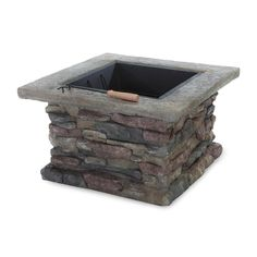 Shop Best Selling Home Decor 29-in W Natural Stone Iron Wood-Burning Fire Pit at Lowes.com