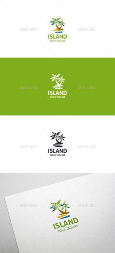 Tropical Island Logo- 100 Resizable vector logo - 100 Editable text - Easily customizable colors - AI & EPS files - Link to font