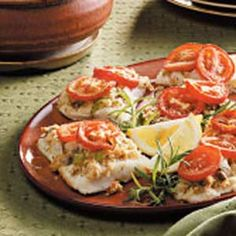 Herb Crumb & Tomato Topped Baked Fish - recipe calls for haddock, but any firm, mild white fish would work well.