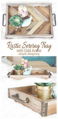 This DIY Rustic Serving Tray with a stunning Gold Arrow accent is simply amazing! And it is easy to make too! Come check it out and pin for later diy ideas crafts Diy Wood Projects, Wood Crafts, Woodworking Projects, Diy And Crafts, Rustic Furniture, Diy Furniture, Modern Furniture, Furniture Storage, Luxury Furniture