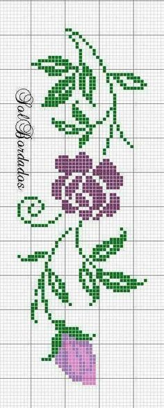 Roses and butterfly cross stitch pattern and color chart. Cross Stitch Rose, Cross Stitch Borders, Cross Stitch Alphabet, Cross Stitch Flowers, Cross Stitch Charts, Cross Stitch Designs, Cross Stitching, Cross Stitch Embroidery, Embroidery Patterns