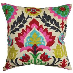 Features: -Tahsis collection. -Hidden zipper closure. Product Type: -Throw pillow. Color: -Multi. Style: -Asian Inspired. Shape: -Square. Cover Material: -100% Cotton. Fill Material: -Down/Fea