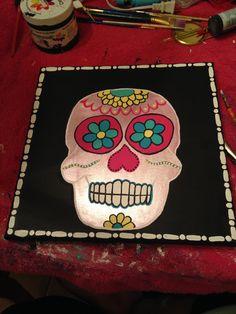 Sugar Skull Canvas  getcraftywithit.com