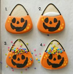 Halloween Cookie Decorating ~ Jack O Lantern Candy Bucket Decorated Sugar Cookies tutorial from Sweet Sugar Belle Halloween Torte, Pasteles Halloween, Bonbon Halloween, Halloween Desserts, Halloween Candy, Belle Halloween, Halloween Jack, Fall Cookies, Iced Cookies