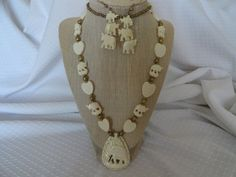 Vintage Carved Bone Elephant and Heart Necklace by BBGIMAGINATIONS $39 etsy