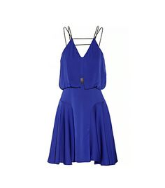 @Who What Wear - Stand out from the pack in this vibrant cocktail dress.  Milly Leather-Trimmed Stretch-Silk Dress ($395)