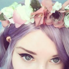 what perrie would probably wear fort the wedding as one of my bridesmaids #pastel #goth #girl #beautiful #lilac #hair #flowers #floral #headpiece #head #dress #wreath #pastelgoth