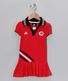 Take a look at this Red Reds Pleated Polo Dress - Toddler by MLB on #zulily today!