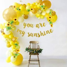 Sunflower Party Themes, Sunflower Birthday Parties, Yellow Birthday Parties, Girl Birthday Themes, Baby Girl First Birthday, First Birthday Parties, First Birthdays, 1st Birthday Girl Party Ideas, Baby Shower Themes