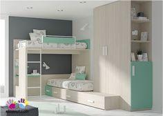 Dormitorio Infantil con Literas  Armario Zapatero