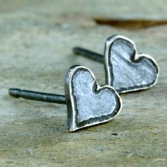 Heart Post Earrings Tiny and Etched Sterling Silver by lsueszabo, $28.00