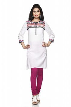 A white coloured printed kurta for women from Sabhyata. Made from cotton, this knee-length kurta features 3/4th sleeves, regular fit and this kurta having round neck with printed yoke and khari work on front. Team it with pink leggings for a sensuous look. - See more at: http://shopsabhyata.com/product/white-round-neck-kurta-3/#sthash.01XgXoxa.dpuf