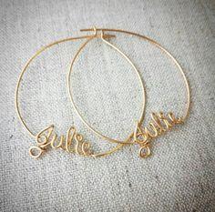 Hoop Earrings with Custom Names, Personalized Name Jewelry, Custom Name Earrings,  Large Hoops, Gold, Silver, Copper, Custom Name Gifts Name Earrings, Gold Plated Necklace, Silver Hoop Earrings, Name Necklace, Silver Bracelets, Silver Ring, Dangle Earrings, Name Jewelry, Couple Jewelry