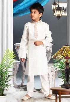 Off White Jacquard Art Silk Readymade Kurta Churidar Online Shopping: UND173 Size 6 $28