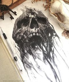 Erstaunliche Kunst durch # skull💀 # skulls💀 - Skull Tattoo - Garden Planting - Home DIY Cheap - Blonde Hair Styles - DIY Jewelry Vintage Creepy Drawings, Dark Art Drawings, Tattoo Design Drawings, Skull Tattoo Design, Creepy Art, Tattoo Sketches, Art Sketches, Skull Drawings, Evil Skull Tattoo