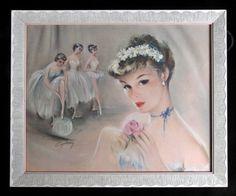 Vintage 1950's framed CYDNEY Grossman BALLERINA Print, signed pastels ballet EUC #Vintage