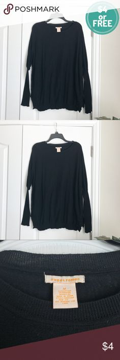 $4 Clearance: Plz Read Description Pre-loved and has some flaws. Has obvious signs of wear. Persistent lint which I don't have patience for. Bubbling hem at bottom. No stains, or tears. Free with any $10 purchase!    PRODUCT DETAILS: •Size: Medium •Colors: Black •Made in China •Measurements: Chest-26inch Length-24-28 •Crew Neck •Bat Wing Sleeves And Oversized •Semi-Sheer • 55% cotton, 35% rayon, 10% nylon •Hand Wash •Nice And Soft  Tags: Top blouse sweater butterfly Sweet Romeo Sweaters Crew…
