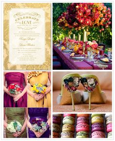This week we're focusing on a rich, regal palette of colors. From topaz and peridot, to amethyst and garnet, dazzling jewel tones are stunning for a fall or winter wedding. Find more wedding inspiration boards at blog.weddingpaperdivas.com.