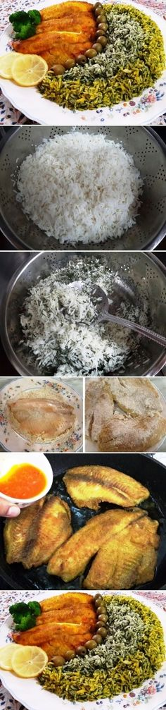Iranian cuisine: herb rice and fish, one of the main dishes that are traditionally served in the evening of Norooz, the Persian new year