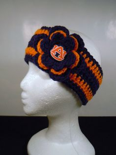Crocheted Earwarmer in Navy and Orange made by OliviaRyanbyDGuess