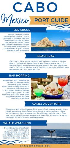 This popular Mexican Riviera port offers everything from beach breaks, to famous landmarks, and one-of-a-kind experiences with nature. Whether you are visiting one of the local resorts or on a Mexican Riviera cruise, you will want to have a look at our list of the Top Things to Do in Cabo San Lucas. Popular attractions including Los Arcos, the Cabo Wabo Cantina, Medano Beach, Lover's Beach, Camel Adventures, Whale Watching, Snorkeling, and more. Check out our article for all the details. Best Cruise, Cruise Port, Cruise Tips, Cruise Vacation, Family Cruise, Cruise Excursions, Cruise Destinations, Caribbean Vacations, Caribbean Cruise