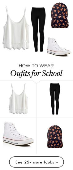 """Tomboy-Girly school outfit"" by lianmol on Polyvore featuring Wolford, Chicwish and Converse"