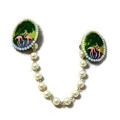Rockabilly Sweater Clip Retro Flamingo and Pearls by JuicyLucys, $14.00