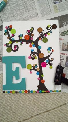 Bigger picture of button tree and initial! I also have a step by step on here!!(: