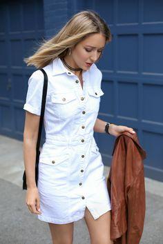 White Denim Dress, White Denim Jeans, Denim Shirt With Jeans, Nyc Fashion, Denim Fashion, Fashion Outfits, Denim Blanco, Jean Shirt Dress, Casual Dresses