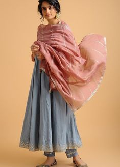 Buy Pink Aari-embroidered Cotton Chanderi Dupatta with Gota Work Online Pakistani Dresses, Indian Dresses, Indian Outfits, Indian Clothes, Desi Clothes, Indian Attire, Indian Ethnic Wear, Indian India, Ethnic Style
