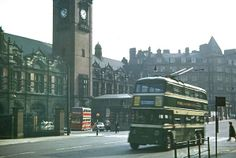 Nottingham City trolleybus passing in front of Nottingham Victoria Railway Station sometime in the early NB. The double deck bus standing in the forecourt is a Barton Transport Leyland Nottingham City Centre, Nottingham Road, Bus Pass, Steam Railway, British Home, Derbyshire, Big Ben, Street View, Buses