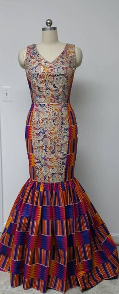 African Kente print long dress with lace/ Ankara fabric long dress/Dashiki floor length gown/ Kente Prom gown/ African print bridal dress. African Print Dresses, African Fashion Dresses, African Attire, African Wear, African Women, African Dress, African Prints, Nigerian Fashion, Ghanaian Fashion