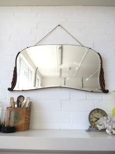 Vintage Large Art Deco Bevelled Edge Wall Mirror with Wooden Details