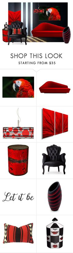 """Black & Red"" by dreamcatcher51 ❤ liked on Polyvore featuring interior, interiors, interior design, home, home decor, interior decorating, Driade, Giclee Glow, GroovyStuff and Moooi"