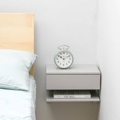 Discover thousands of images about floating bedside table grey small Floating Bedside Shelf, Floating Shelves, Wall Mounted Bedside Table, Floating Drawer, Black Nightstand, Floating Table, Bedroom Furniture, Bedroom Decor, Small Spaces