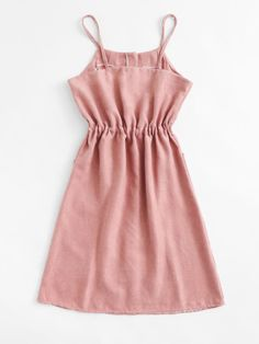 Shop Single Breasted Drawstring Waist Pocket Side Dress at ROMWE, discover more fashion styles online. Summer Formal Dresses, Formal Dresses For Women, Dress Formal, Girls Fashion Clothes, Fashion Dresses, Cute Casual Outfits, Casual Dresses, Look Fashion, Girl Fashion