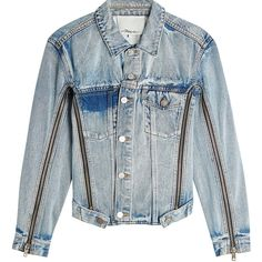 3.1 Phillip Lim Denim Jacket (2677760 PYG) ❤ liked on Polyvore featuring outerwear, jackets, blue, denim, blue jackets, bleached denim jacket, 3.1 phillip lim jacket, fitted denim jacket and blue jean jacket
