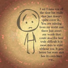 Saying I miss you doesn't quite cover it ...