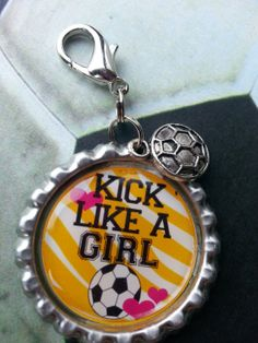 Kick Like A Girl Bottle Cap Keychain OR Zipperpull by tracikennedy, $6.00