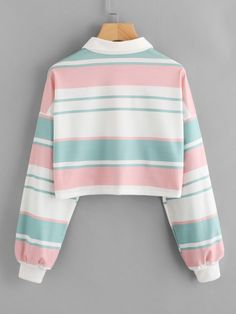 Shop Drop Shoulder Striped Crop Pullover at ROMWE, discover more fashion styles online. Girls Fashion Clothes, Teen Fashion Outfits, Girl Fashion, Girl Outfits, Clothes For Women, 80s Style Outfits, Trendy Teen Fashion, Crop Top Outfits, Cute Casual Outfits
