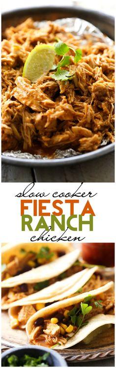 Slow Cooker Fiesta Ranch Chicken. #crockpot #slowcooker