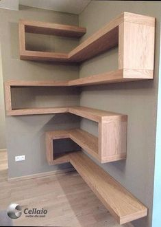 Shelves Ideas Plank shelves are so simple yet very efficient spacewise, especially in a tight office that may double as a guest room The minimal hardware supporting these gives them the look of floating shelves This wall Read more - diy-home-deco Shelves, Home Projects, Interior, Diy Furniture, Home Decor, House Interior, Home Diy, Home Interior Design, Furniture Design