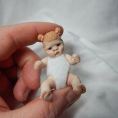 Miniature Baby Girl Hand Sculpted Doll by alliebeandolls on Etsy, $55.00