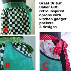 Items similar to Apron, Great British Baker Gift, Vintage retro inspired with Kitchen Gadget Pockets in 3 designs on Etsy British Baker, Gifts For A Baker, Great British, Kitchen Gadgets, Retro Vintage, Apron, Pockets, Inspired, Trending Outfits