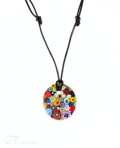 Murano glass flower pendant necklace Colorful by EThandmadeshop